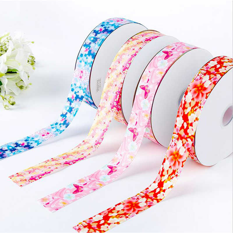 5Yards/roll  single face ribbon Japanese style flower Gift Wrapping DIY handmade  Christmas/New Year/wedding gift/Party Decor