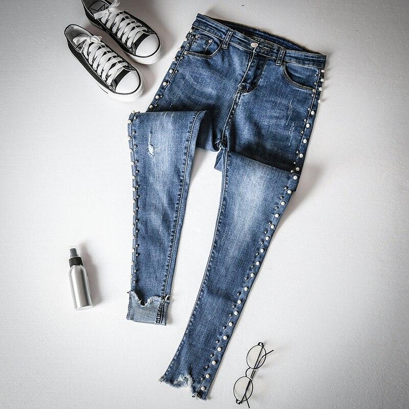 Vaquero Bordados Blue Pantalones Denim Femme Nuevo Side Lápiz Ripped Perlas Rebordear Niza Flares Moda Jeans Mujer pxaBRq