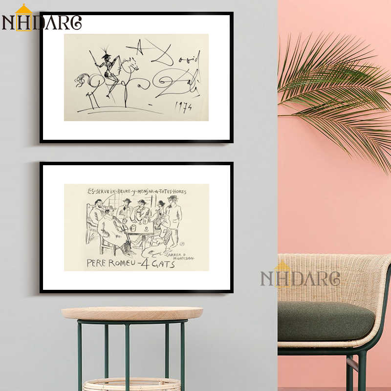 Sketch Art of Retro Fashion Vintage Vogue Style Home Decoration Posters and Prints Canvas Painting Art Wall Pictures Home Decor