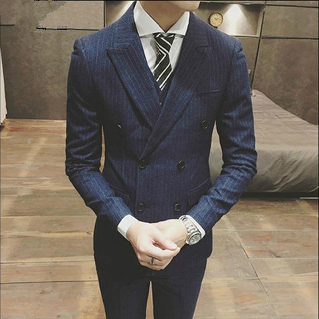 Rayas hombres traje 3 piezas (chaqueta + Pantalones + chaleco + Tie) estilo  coreano 6a75722016fa