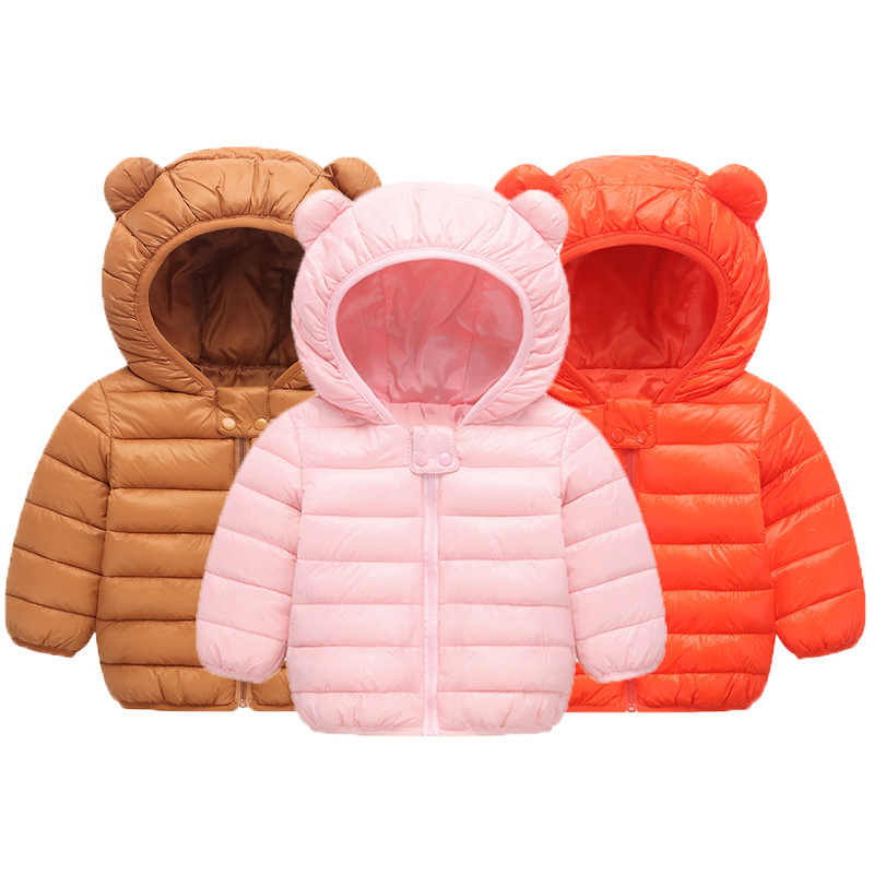 Baby Girls Boys Parka Light kids jacket hood cotton Down Coat winter children jacket spring fall toddler outerwear & coats 1-5T