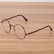NOSSA Vintage Round Coffee Glasses Frame Women & Men Retro Eyewear Frame Clear Glasses Male Female Classic Gold Spectacle Frame