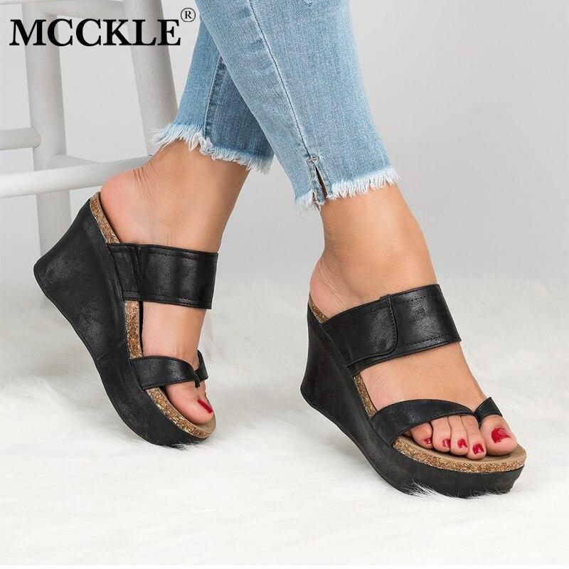 MCCKLE Plus Größe Frauen Rutschen Hohe Ferse Casual Sommer Strand Schuhe Mode Plattform Hausschuhe Weiblichen Keile Ourdoor Schuh Schuhe