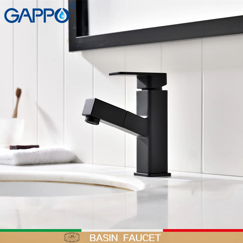 GAPPO Basin Faucets Pull out Brass sink faucet deck mounted taps Black Griferia basin mixer tap bathroom waterfall basin FaucetsGAPPO Basin Faucets Pull out Brass sink faucet deck mounted taps Black Griferia basin mixer tap bathroom waterfall basin Faucets