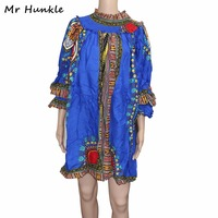 Mr Hunkle Spring Autumn Dashiki Dress Vintage Turtleneck Three Quarter Petsl Sleeve Vestidos Traditional African Clothing
