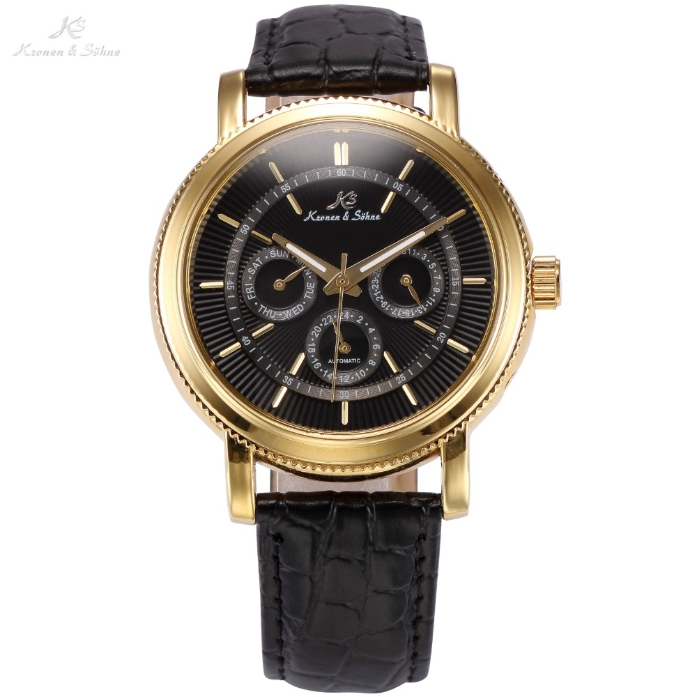 KS Brand Auto Date Display Relogio Masculino Black Golden Case Leather Strap Men Self Wind Mechanical Casual Wrist Watch /KS249