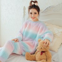 Winter Warm Pajamas Sets For Women Striped Pullover Pants Female Pajamas Lady Flannel Long Sleeve Tracksuit