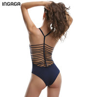 INGAGA 2017 One Piece Swimsuit Sexy Bandage Swimwear Women Halter Solid Swim Wear Summer Beach Padded