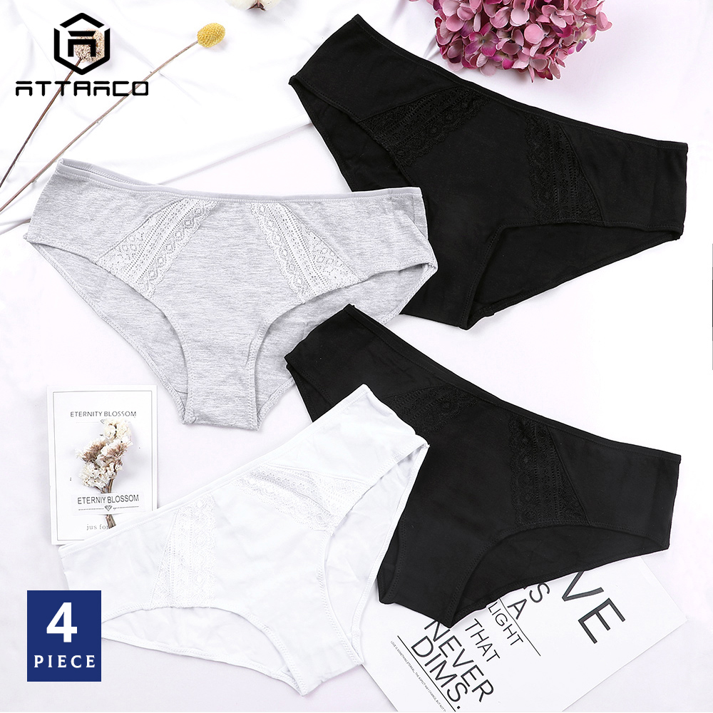 ATTRACO Women's Underwear Hipster   Panties   4 Packs Cotton Soft Stretch Ladies Solid Comfort Mid Waist Breathable Hot Sale