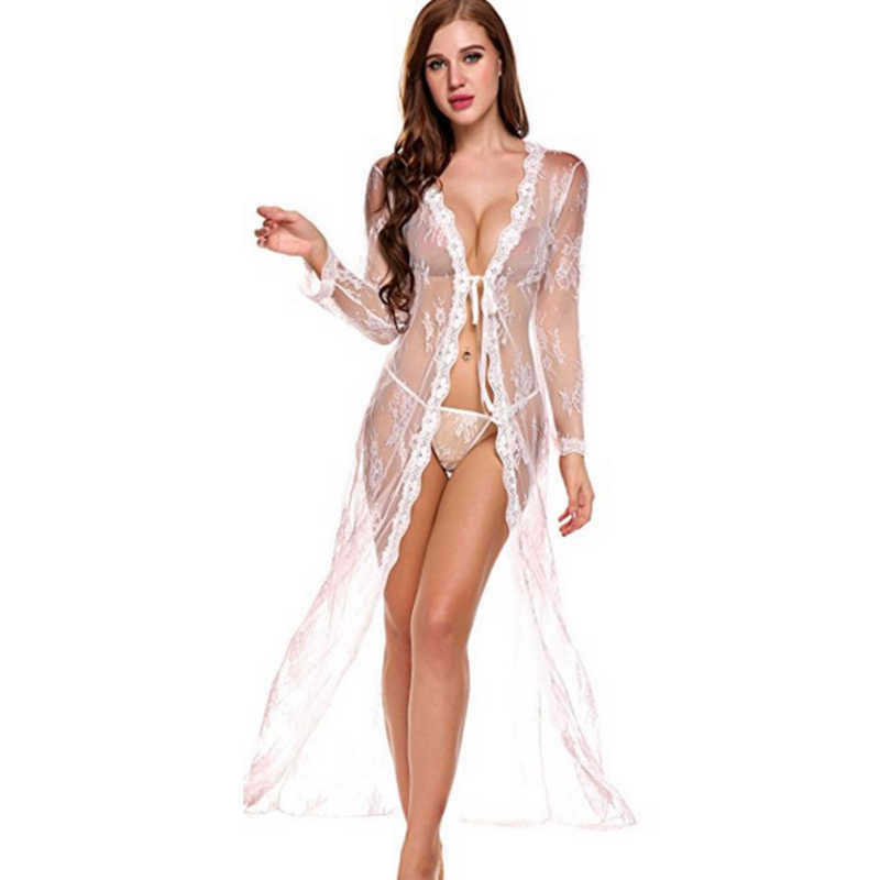 Long Robe Robes with lace Big Size Bathrobe Bridesmaid Floral Bathrobe Kimono Bath Robe Fashion For Women  Autumn  mesh robe