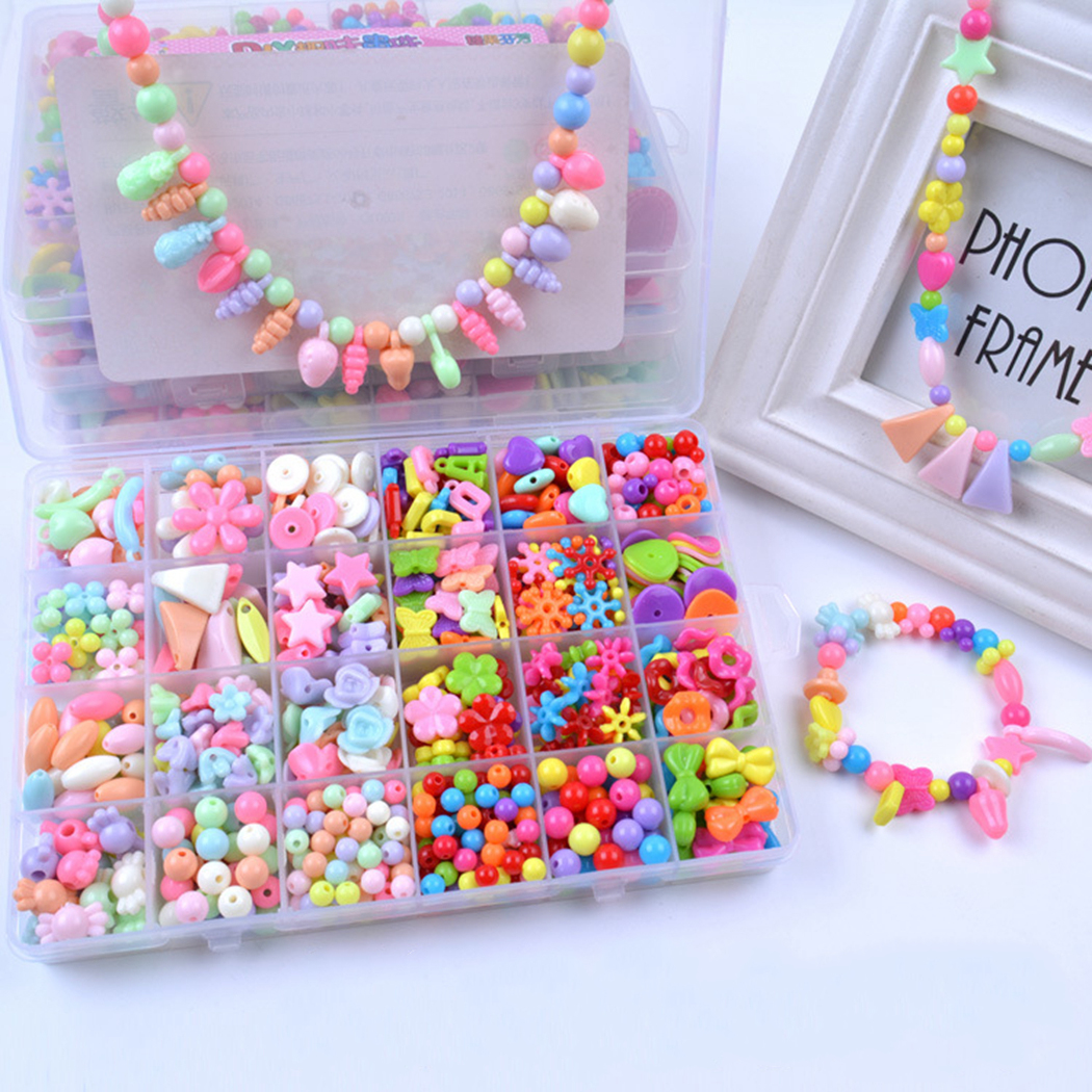 Children DIY Bead Set Assorted Acrylic Bead Kit Jewelry Necklace Bracelet Children Craft Set Craft Beads Jewelry Making Beads