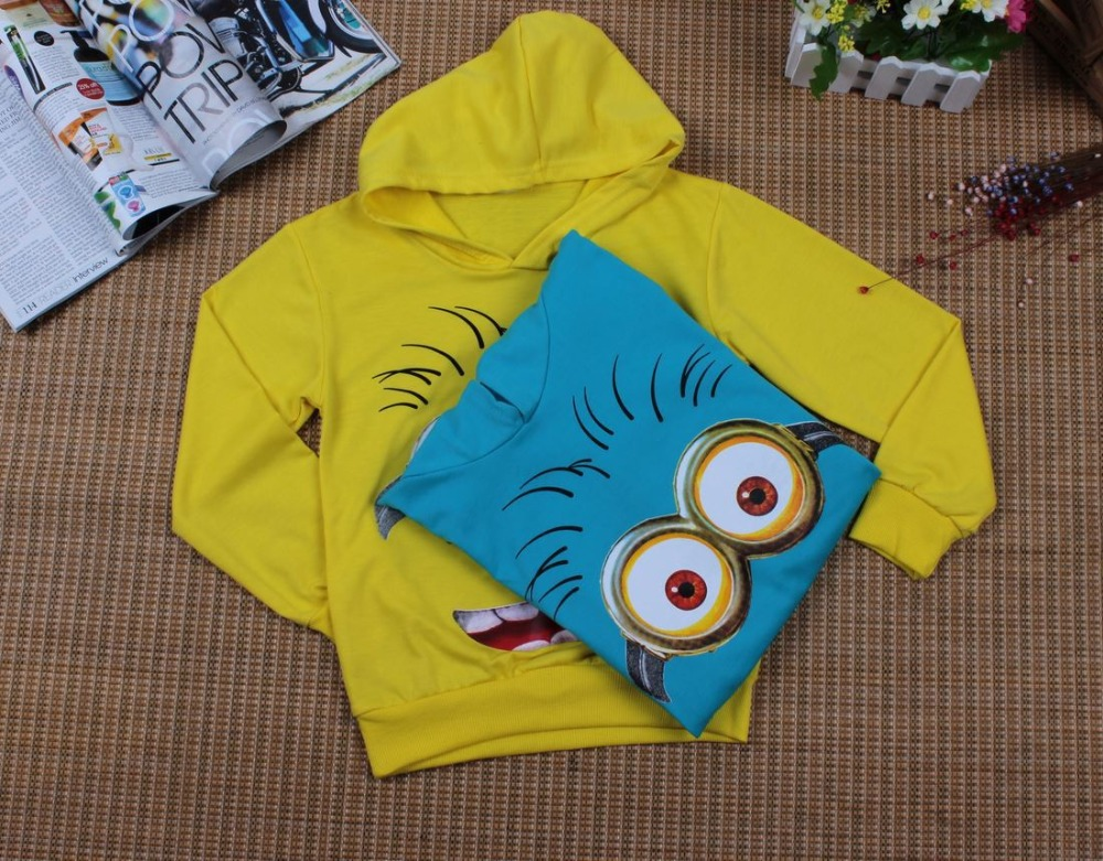 HTB1GTj7ex6I8KJjSszfq6yZVXXaB - Boy or Girl's High Quality Cotton Hoodie T-Shirts Cartoon Minion Print Design