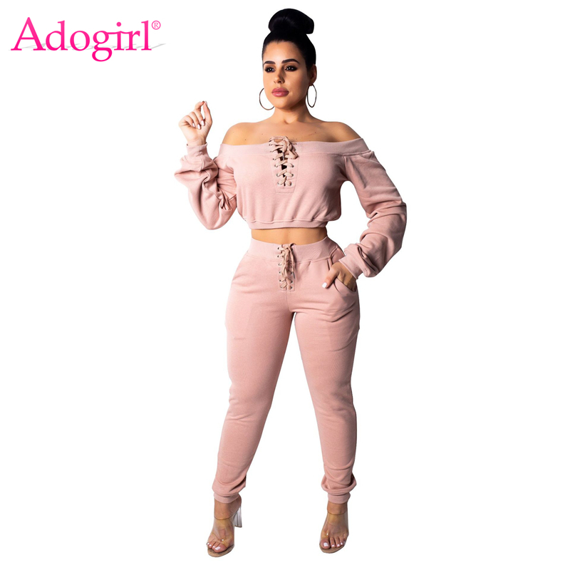 Adogirl Grommet Lace Up Casual Two Piece Set Women Sexy Off Shoulder Long Sleeve Crop Sweatshirts Top + Pockets Pants Tracksuit