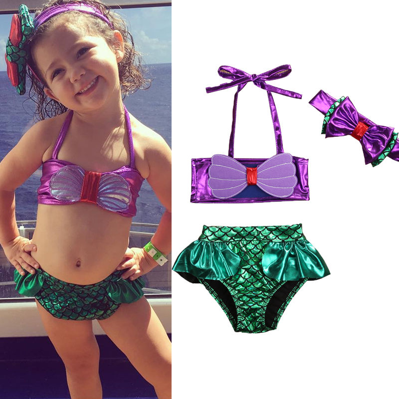 2018 3pcs Kids Baby Girls Bikini Set Mermaid Swimsuit Summer Bathing Suit + Headband Swimwear Halter Tankini 0-8 Years Old Fit halter print tankini set