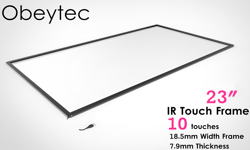 Obeytec 23 IR Touch ScreenOverly Kit, 10 touch Points, with 3mm thickness Glass, Anti-vandal, Anti-sunshine, Anti-Dust 23 8 inch ir touch screen with 3mm vandal proof glass anti sunshine dust proof infrared touch frame 2 4 6 10 touch points