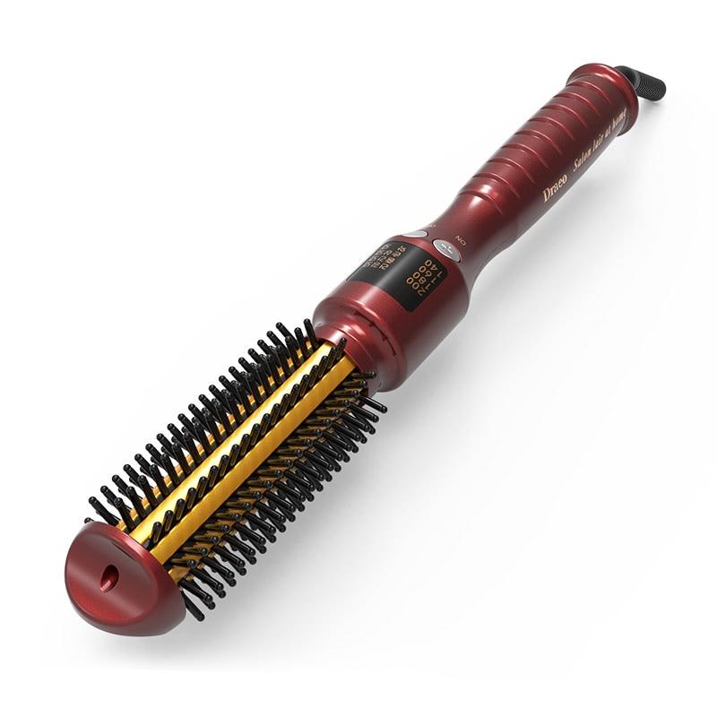 26CM Ceramic Anion Hair Curler Comb Hairbrush Curling/Straighting Straightener Brush Roller Iron Fashion Styling Tools 110V-240V