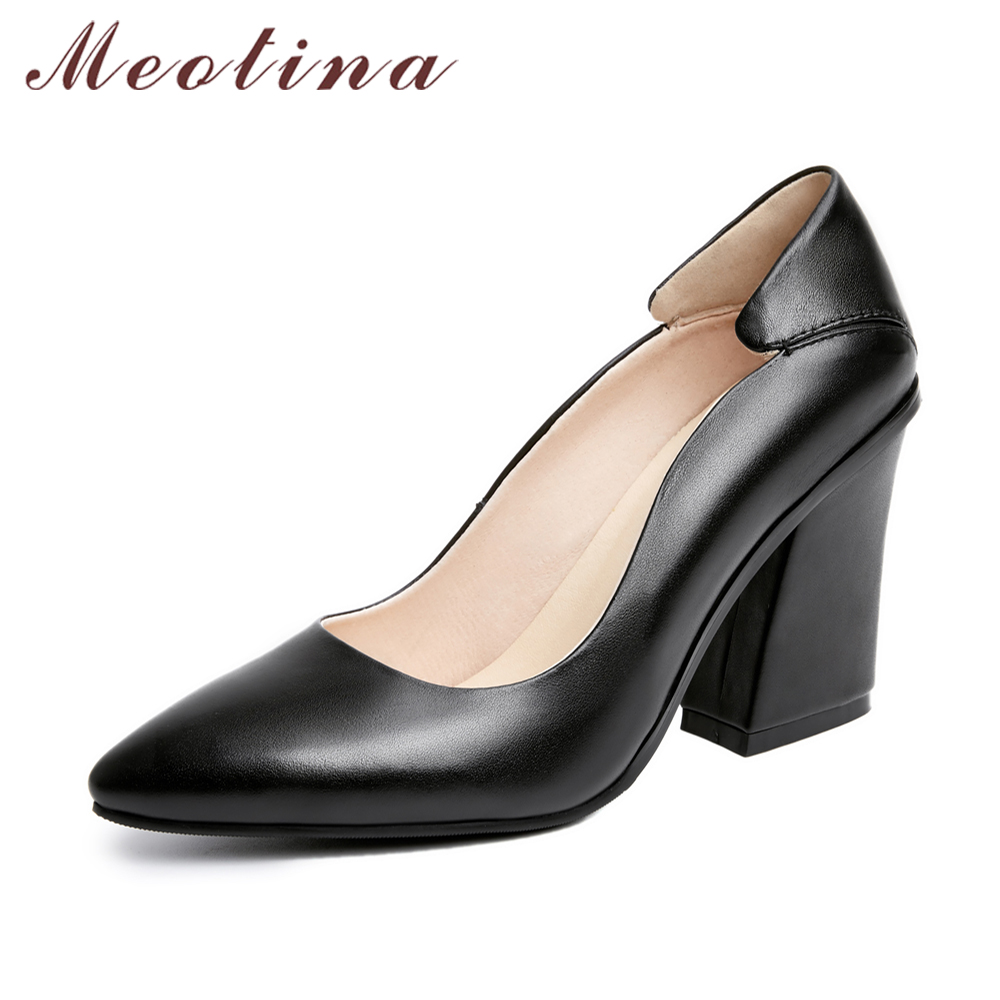 Meotina Designer 2017 Genuine Leather Shoes Women Pumps Autumn Pointed Toe High Heels Ladies Office Pumps Black Big Size 41 42  ladies comfortable women office shoes sandals square heels spring 2017 real leather round toe solid high heels big size 40 41 42