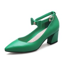 DoraTasia 2017 Big Size 34-42 Mary Jane Pointed Toe Women Pumps Sexy Ankle Strap Chunky Heels Woman Party Dating Shoes
