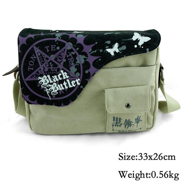 Anime Kuroshitsuji Black Butler Messenger Bag Escola Para Estudantes Crianças Crianças Sacos de Lona Adolescente