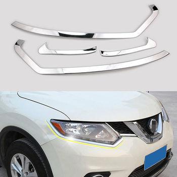 바베큐 @ fuka 닛산 엑스 트레일 2014-2016 크롬 자동차 프론트 헤드 라이트 눈썹 램프 커버 트림 자동차 스타일링