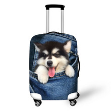 Купить с кэшбэком Denim Animals Print luggage protector cover suitcases covers Waterproof luggage covers accessory bags travel trolley case cover