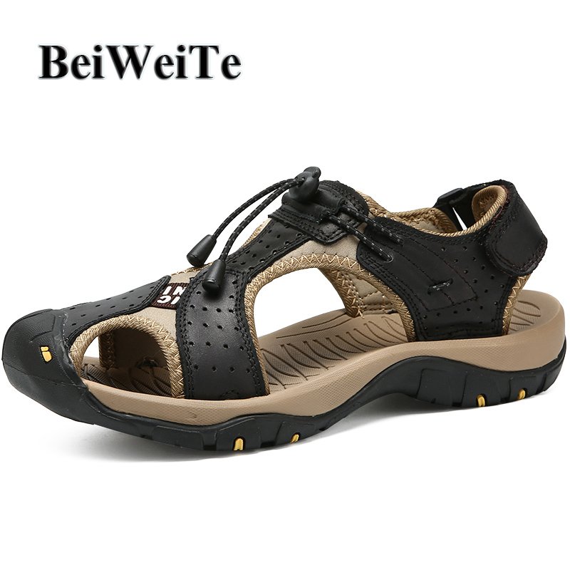 3c89355eecaadf BeiWeiTe Autumn Men's Sandals Big Size Hiking Fishing Beach Shoes Genuine  Leather Closed Toe Walking Breathable Male Sport Shoes-in Beach & Outdoor  Sandals ...
