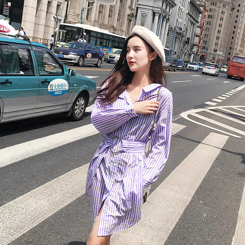 88041b2eda8 2018 Новый Осень Для женщин платье длинный рукав Свободные + 3 Стандартный  Сирень томный ленив платья