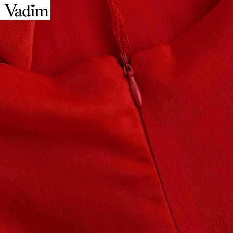Vadim женские сексуальные черные комбинезоны на молнии сзади без рукавов с галстуком-бабочкой женские повседневные красные комбинезоны летние пляжные шикарные комбинезоны KB012