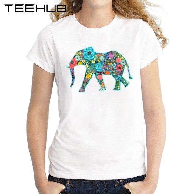 b4d983850d7359 Floral Elephant Print T Shirt Harajuku T-Shirt Women 2018 Summer Casual  Short Sleeve vivid colors TShirt White Punk Shirts