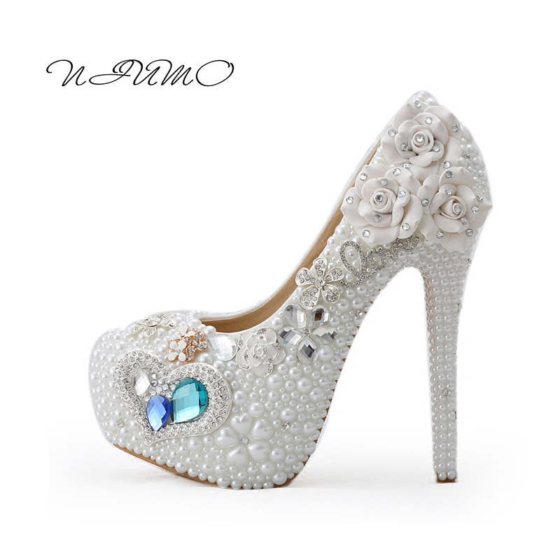 White pearl blue gemstone heels Wedding banquet performances Mitzvah Shoes Diamond wedding shoes крокус blue pearl geolia