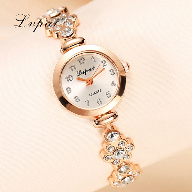 Lvpai Brand Fashion Watch Women Luxury Rose Gold Bracelets Wristwatch Crystal Qu
