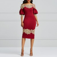 Clocolor Elegant Party Dress Luxury Lace Burgundy Princess Puff Sleeve Bodycon Sexy Ladies Off Shoulder Sheath Women Midi Dress