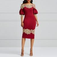Clocolor Elegant Party Dress Luxury Lace Burgundy Princess Puff Sleeve Bodycon Sexy Ladies Off Shoulder Sheath Women Midi Dress