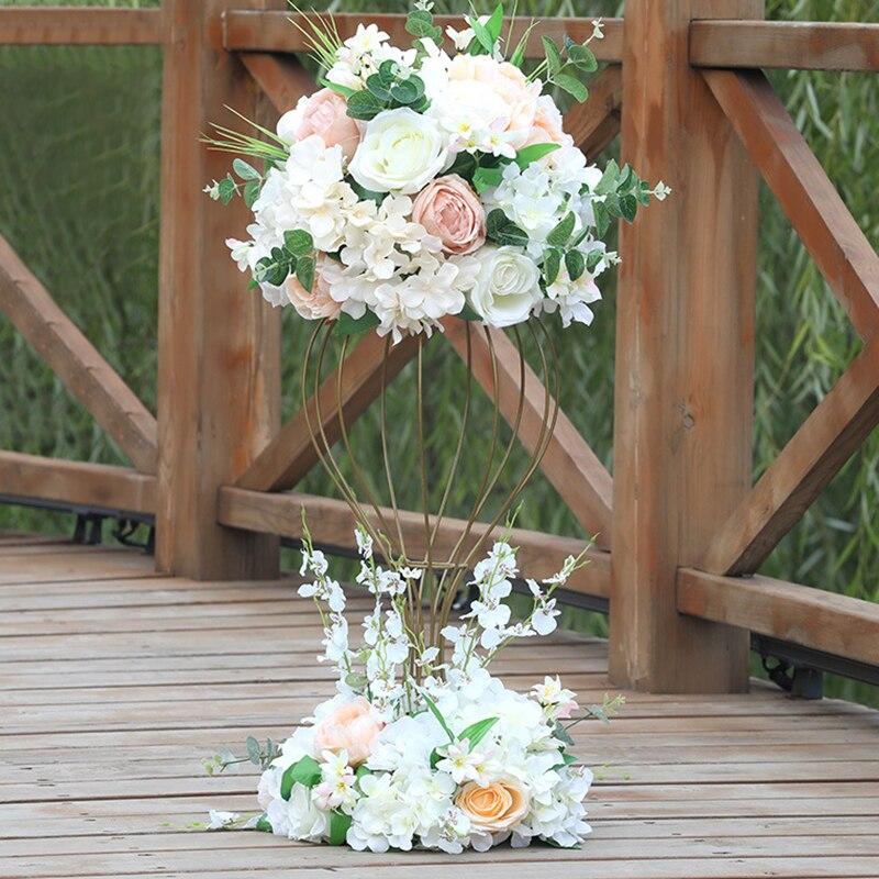 Wysokiej jakości ślub stół do jadalni sztuczne kwiaty ball droga cytowana kwiat dekoracja okienna z dolnym dekoracyjne flores w Sztuczne i zasuszone kwiaty od Dom i ogród na  Grupa 1