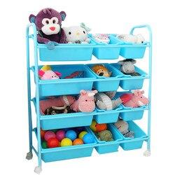 الأطفال لعبة تخزين رف لعبة التشطيب رف متعدد الطبقات مع الأسطوانة الطفل لعبة رف لعبة خزانة صندوق تخزين
