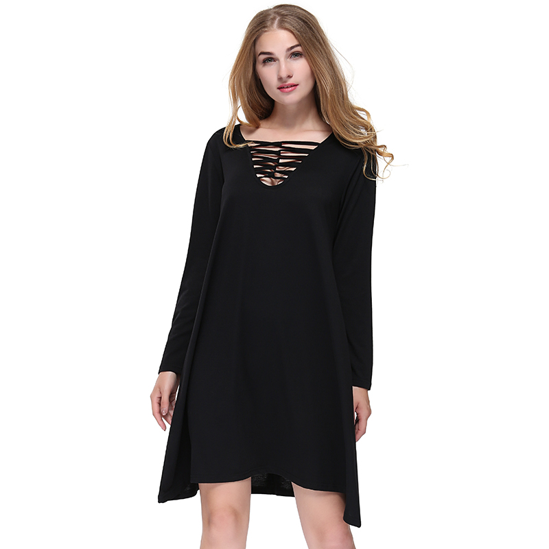 Sexy Striped Hallow Out Women Long Sleeve Summer Dress 2018 Casual Loose Black Office Work Wear Dress Solid Color