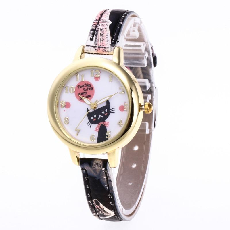 Hot Woman Fashion Cat Pattern Printed Round Dial Clock Watch Leather Band Dress Temperament Quartz Wrist Watch Gift Relogio #A