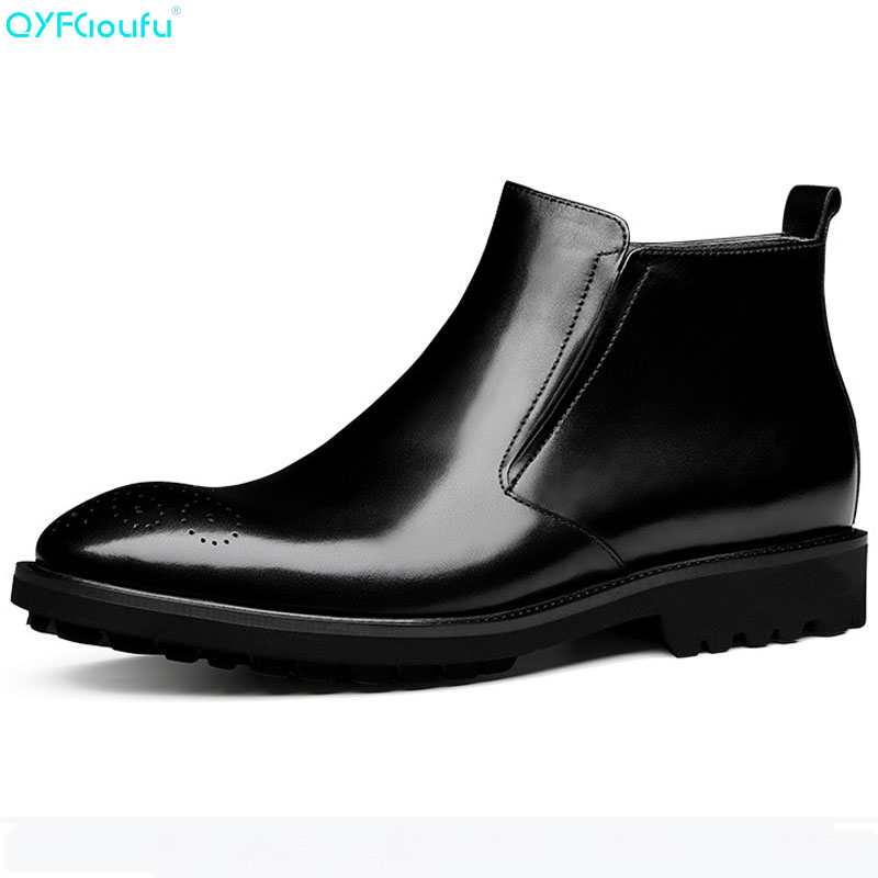QYFCIOUFU Quality Italian Martin Brogue Men Boots Casual Black Brown Genuine Leather Ankle Boots High Top Wedding Boots ShoesQYFCIOUFU Quality Italian Martin Brogue Men Boots Casual Black Brown Genuine Leather Ankle Boots High Top Wedding Boots Shoes