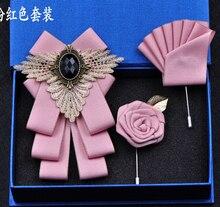 Free shipping New fashion mens male man handmade British formalwear business Korean wedding groom bow tie pocket towel SET