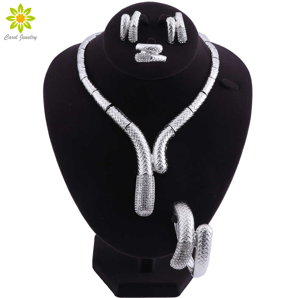 African Dubai Bridal Jewelry Sets For Women Wedding Crystal Silver Plated Necklace Earrings Set Fashion Costume Jewellery