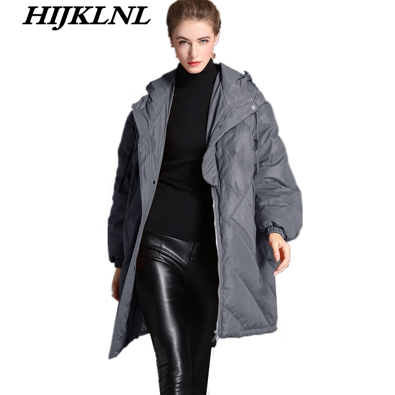 2019 New Women Winter   Down     Coat   Loose Large Size Solid Long   Down   Jacket Women Thicken Hooded   Coat   Fashion Warm Outerwear CW100