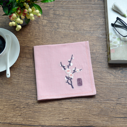 Plum Retro Style Nostalgic Lady Embroidery Cotton Handkerchief Small Pocket Square Foreign Guests Christmas Wedding Gift