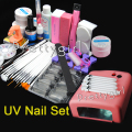 Primer 36w Pink Lamp UV Gels TopCoat nails polish kit sets Nail Art tools 15 x Brushes manicure set Rhinestone Cutter Tips
