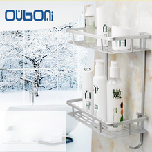 OUBONI Aluminum Bathroom Shelf Shower Shampoo Soap Bathroom Storage Organizer Kitchen Double Shelf Bathroom Racks w/Hooks