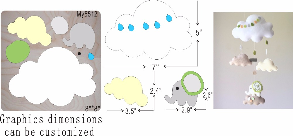 White clouds elephants new wooden mould cutting dies for scrapbooking Thickness 15 8mm