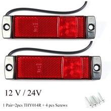 2 PCS AOHEWEI 12 V 24 V lado marcador de luz LED vermelho indicador de posição da lâmpada led sinal de luz de cauda para luz reboque levou luz caminhão