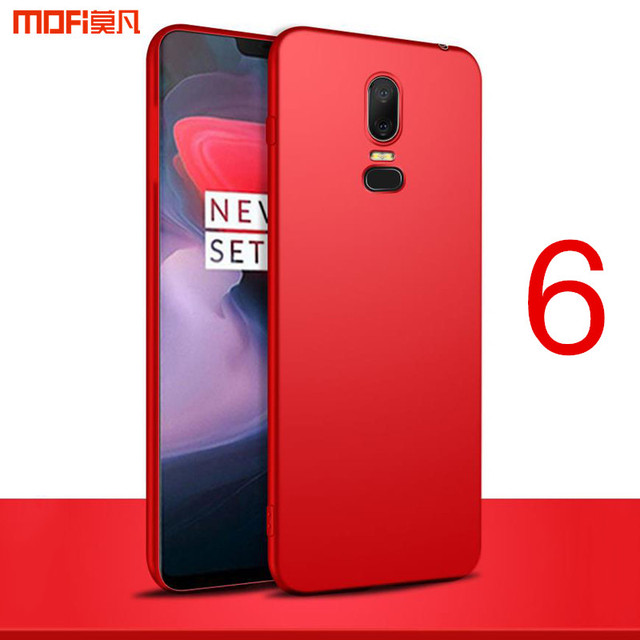 more photos e5fc6 29687 US $6.48 28% OFF|Oneplus 6 case cover Mofi one plus 6 case PC hard back  cover soild color thin red black 1+6 oneplus6 case capa coque funda  6.28