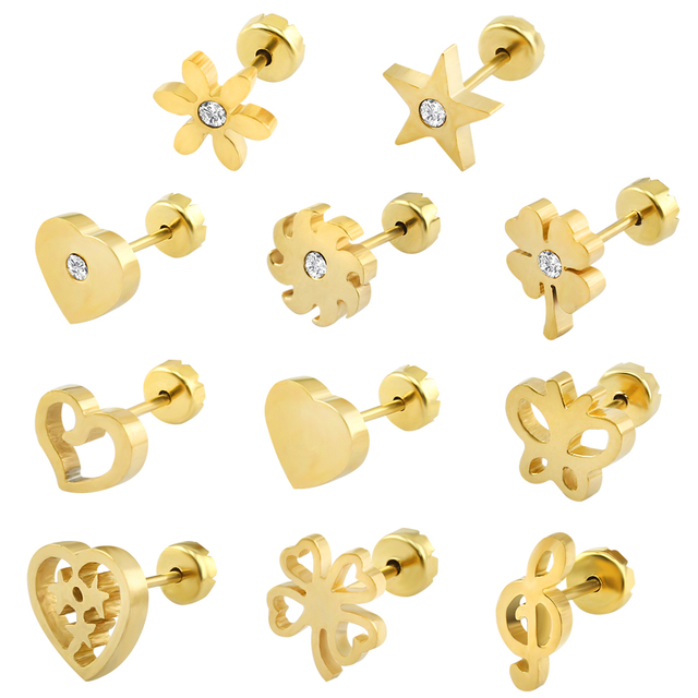 11 Pairs Lot Baby Earrings Set Random Mixed Surgical Steel Earring Studs For S