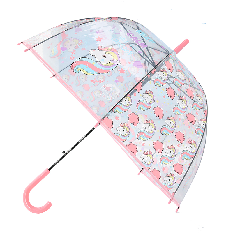 LIBERAINY Simple fashion weatherproof lovely unicorn children long handle transparent umbrella