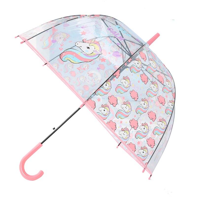 LIBERAINY de moda Simple impermeable hermoso unicornio niños mango largo transparente paraguas libre de carga